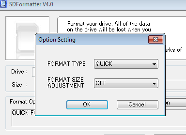 SD Formatter options