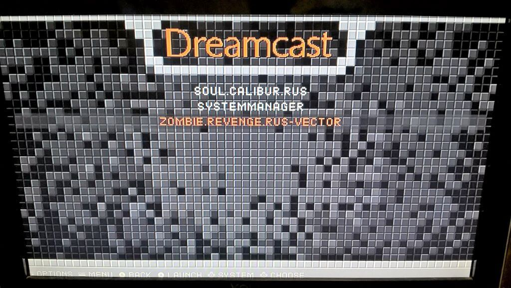 RetrOrangePi Dreamcast menu